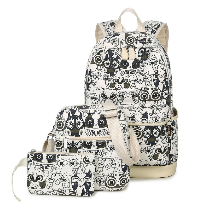3 Pcs/Set Animal Owl Printing Women Backpack Vintage Canvas Bookbags School Bags for Female Teenage Girls Casual Travel Bags cartoon melanie martinez crybaby backpack for teenage girls school bags backpack women casual daypack ladies travel bags