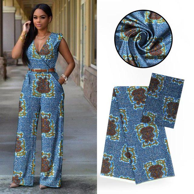 Digital Printed African Ankara Wax Pattern 4 Yards Audel Fabric +2 Yards Chiffon Silk Fabric