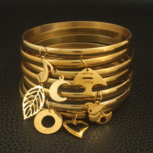 Новейший дизайн ювелирных изделий из нержавеющей стали золотого цвета 69 мм модная запонка браслеты для девочек и женщин BFADAVCA