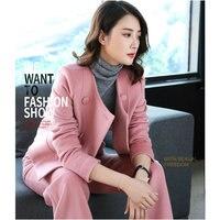 Women Suit Pink Two Pieces Set Pink Blazer Notched Ladies Long Sleeve Suit Blazer Elegant Office Lady Autumn Winter Blazer