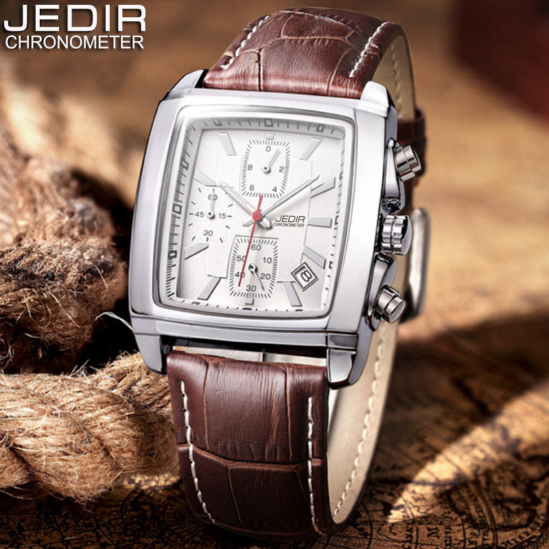Relogio Masculino Mens Watches Top Brand Luxury JEDIR Men Military Sport Luminous Wristwatch Chronograph Leather Quartz Watch jedir chronograph sport mens watches top brand luxury famous male clock quartz watch military leather relogio masculino gift box