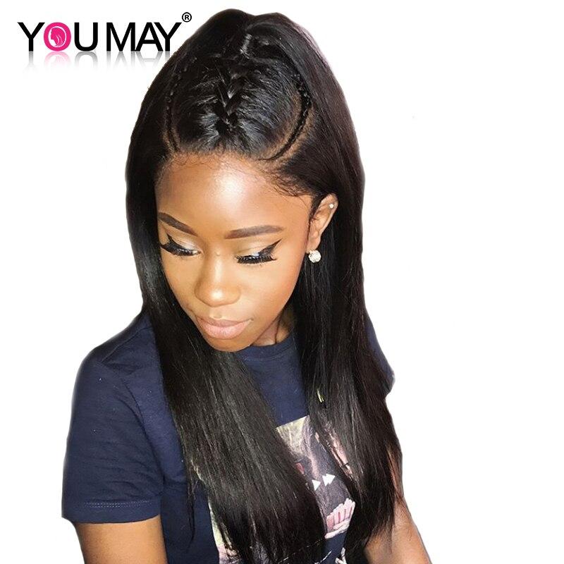 360 Синтетический Frontal шнурка волос парик вы можете волос 180% Плотность Человеческие волосы Искусственные парики для черный Для женщин прямо ...