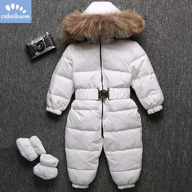 -30 Degree Baby Snowsuits Rompers Real Raccoon Fur Kids Winter Overalls ski suit White Duck Down Boys Girls Outwear Clothes 2019-30 Degree Baby Snowsuits Rompers Real Raccoon Fur Kids Winter Overalls ski suit White Duck Down Boys Girls Outwear Clothes 2019