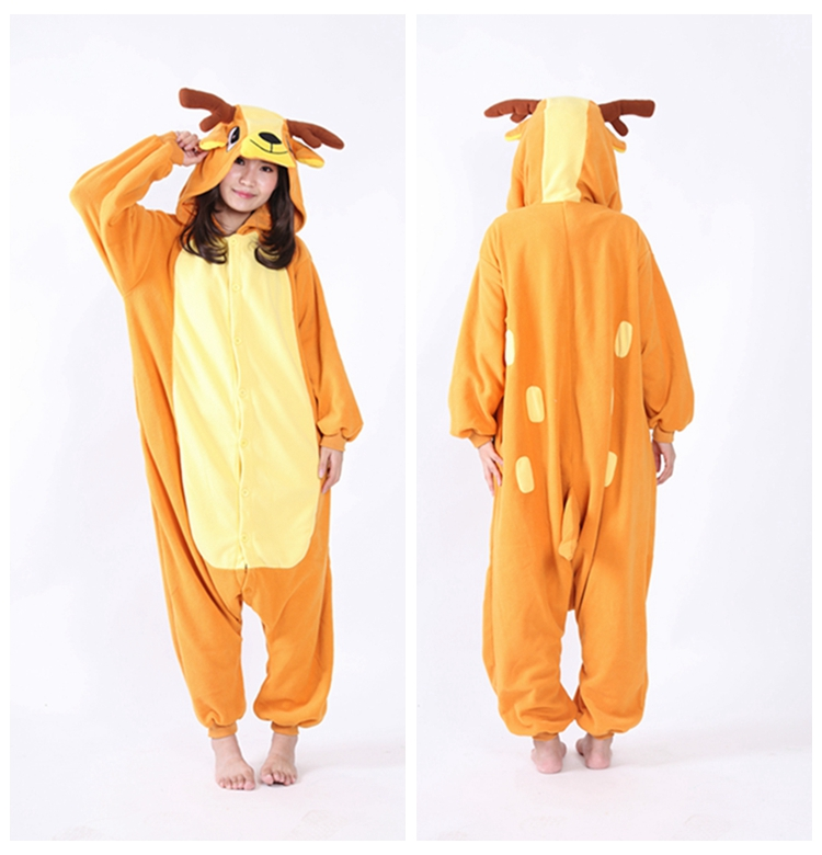 c1bdf20daff2 Unisex New Pajamas Winter Polar fleece Sleepwear Animal Costume Xmas Deer  Pyjamas Onesie Adult Halloween Carnival Party Clothing