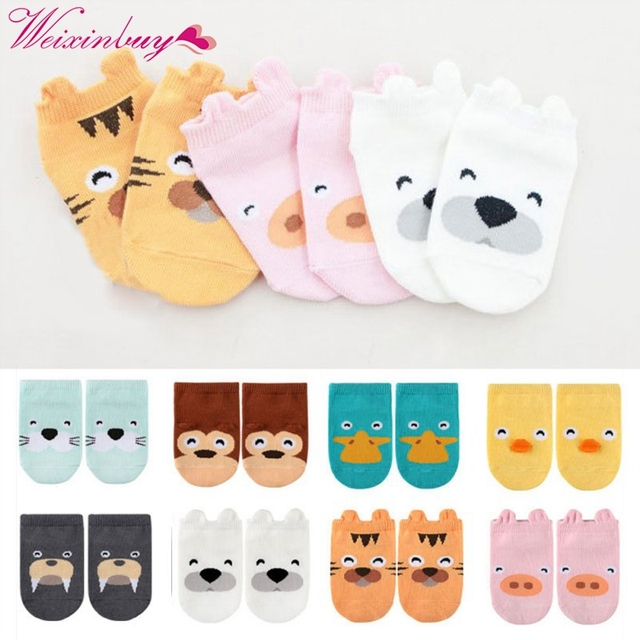 WEIXINBUY New Spring Baby Socks Newborn Cotton Boys Girls Cute Toddler Anti-slip Socks High Quality