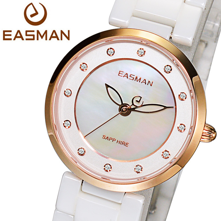 EASMAN Brand Top Women Ceramic Watch White Pearl Zircon Dial Quartz Watch 50M Water Resistant Rose