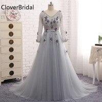 Grey Evening Dress Lace Tulle A Line Long Sleeves Abiti Da Cerimonia Da Sera Long Robe