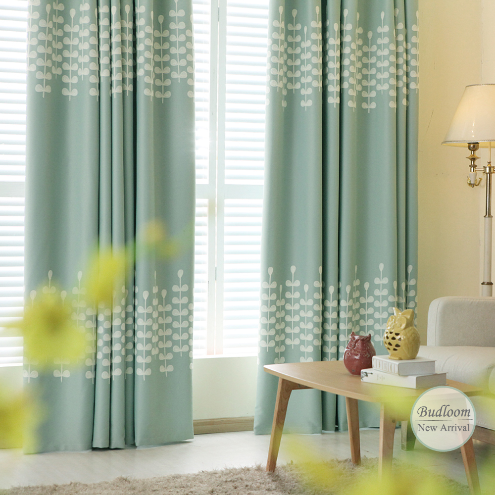 Modern Solid Leaves Embroidered Mint Blackout Curtains For