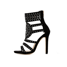 Plus Size 35-43 Rhinestone Gladiator Sandals Open Toe High Heel Sandals  Crystal Ankle Wrap 1df0b63c102a