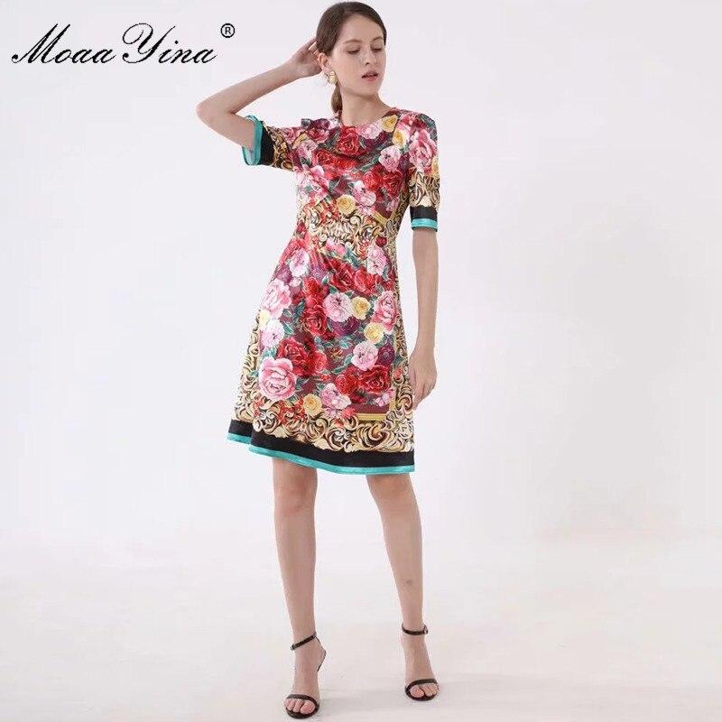 MoaaYina moda diseñador vestido de pasarela Primavera Verano mujeres Vestido de manga corta Floral estampado Delgado elegante Vintage vestidos-in Vestidos from Ropa de mujer    1