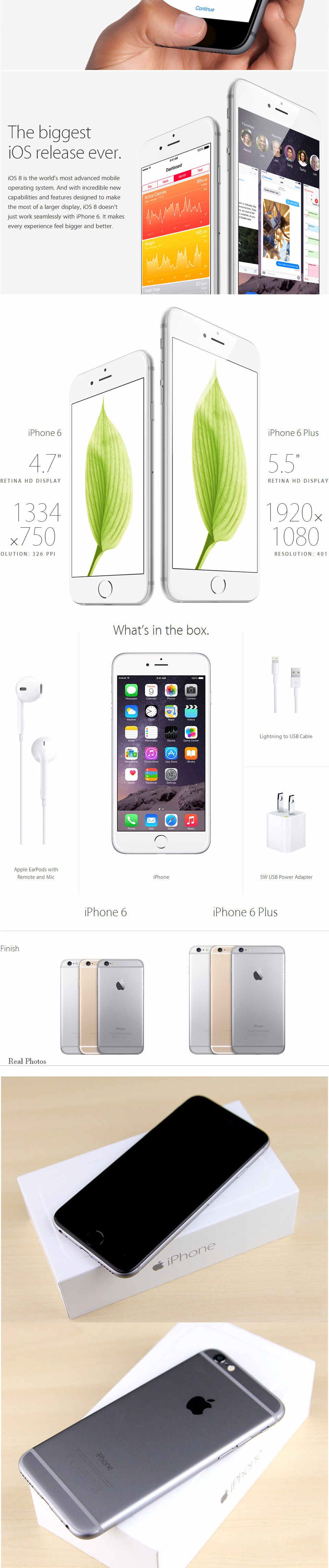 "Unlocked Original Apple iPhone 6 Plus 6P 16GB 64GB 128GB 5.5"" IOS 3G WCDMA 4G LTE 8MP Camera 1G RAM WIFI GPS Mobile Cell Phone 22"