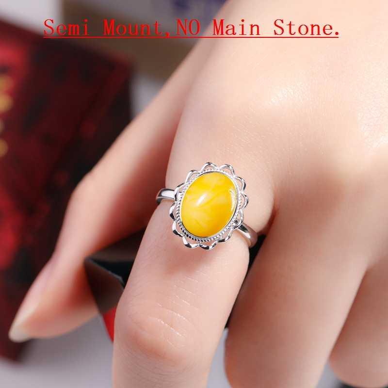 925 เงินสเตอร์ลิงสตรีงานแต่งงานแหวนผู้หญิง 8x11 มม. รูปไข่ Cabochon กึ่ง Mount แหวนขายส่ง