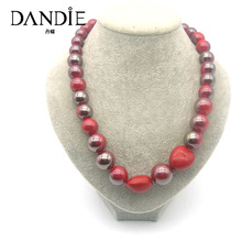 Dandie Red Silver Bead LoveAnd Acrylic Necklace For Women, Fashionable Popular Simple Design Jewelries