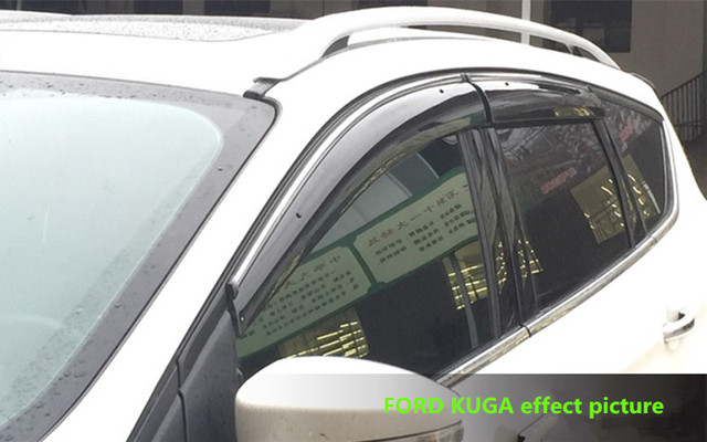 FIT FOR FORD KUGA SIDE WINDOW RAIN DEFLECTORS GUARD VISOR  DOOR SHADOWS 3D SOLID LIGHT BAR  ACRYLIC WEATHER SHIELDS