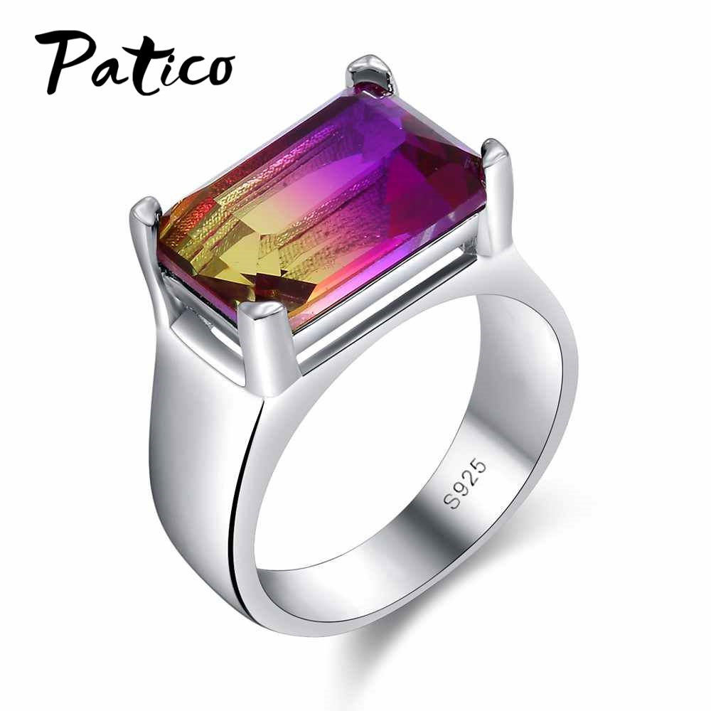 PATICO Rings Square Big Width Finger Rings 925 Sterling Silver Wedding Jewelry For Female Men Purple CZ Zirconia Stone Jewelry