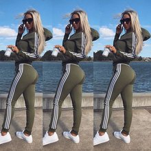 Army Green Casual Women Set Hooded Jacket Full Length Pants Two Piece Set Slim Running Sports