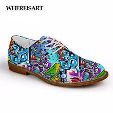 WHEREISART High Quality Women Flats Lace-up Casual Synthetic Oxfords Shoes 3D Fashion Graffiti Prints Leather Shoes for Man Shoe instantarts women s flats casual leather shoes for women breathable ladies lace up sunflower oxfords butterfly floral flats shoe