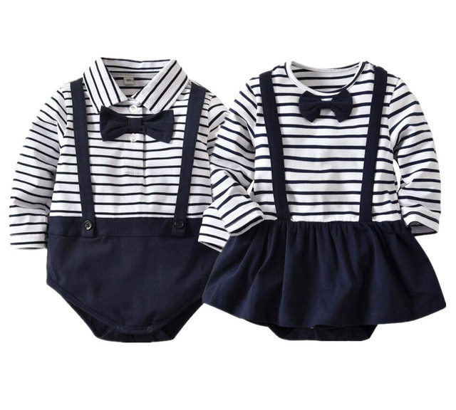 d2b7cb5e0b33 Autumn Baby Rompers Cotton Baby Clothing Long Sleeve Gentleman Kids Boy  Rompers Infantial Jumpsuits Strip Newborn Girl Jumpsuits