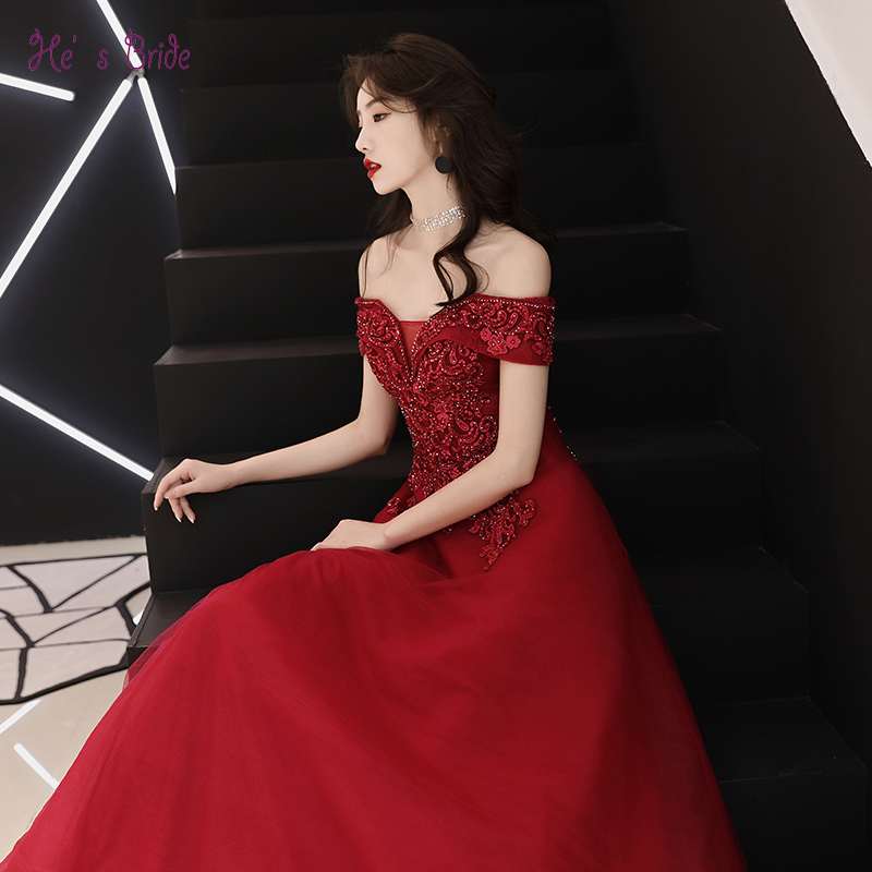 199e787152 He s Bride Red New Elegant Evening Dress Boat Neck Sleeveless Floor-Length  Simple Lace Appliques