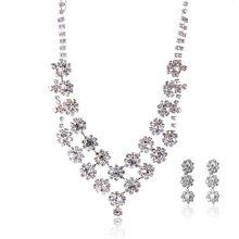 все цены на SUKI Wedding Jewelry Sets For Bride Flower Crystal Pearl Bride Necklace Earrings Headband Tiara Women Jewelry Kits Stud Earring онлайн