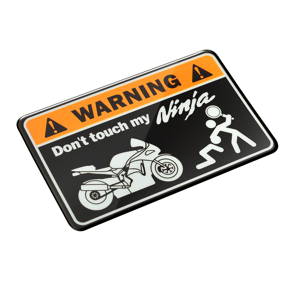 3D Warning Don't Touch My <font><b>Ninja</b></font> Motorbike Decals Tank Stickers Case for <font><b>Kawasaki</b></font> <font><b>NINJA</b></font> 250 300 400 <font><b>650</b></font> ER-6N ER-5 ER6F Tank image