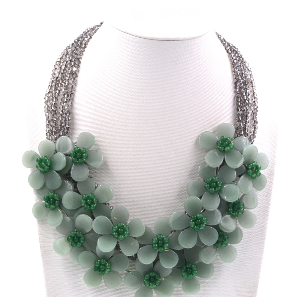 2018 nouveau collier de fleurs Aventurine vert naturel de luxe avec colliers en cristal pour femmes