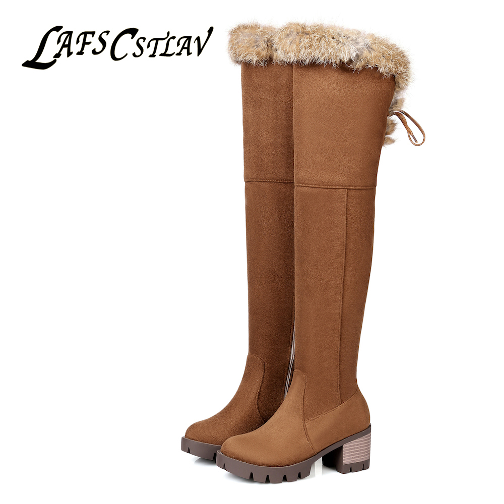 LAFS CSTLAV Real Rabbit Fur Knee High Boots for Women Long Thigh High Boot Round Toe Med Heel Winter Warm Comfortable Booties