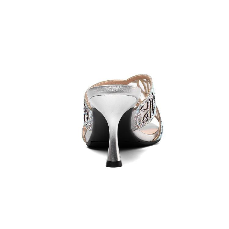 Zapatos Estilo Gold Finos Mujeres Roma Sandalias Mljuese Plata Color Tacón silver Dedo Suave 2019 Zapatillas Alto Las Pie Piel Oveja Del Abierto Recortes Playas Tacones De 08qU8TS
