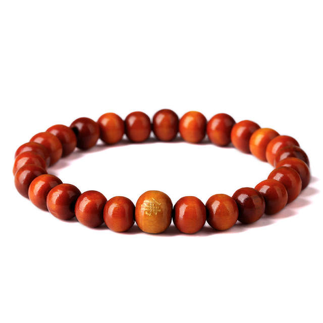 Bracelets Mens Women Red Wood Beads