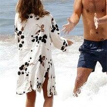 New Arrivals Beach Cover up Print Swimwear Ladies Walk on The Beach Cape Robe de Plage Tunic Women Beachwear Saida de Praia #Q22