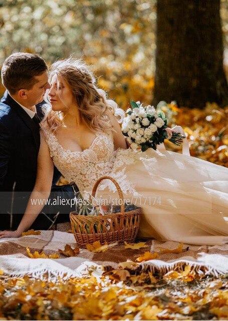 V-neck Lace Applique Cap Sleeve Long Elegant A-line Wedding Dress with Lace-up Pearls Champagne Bridal Dress vestido de novia 3