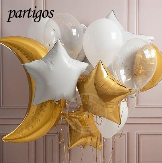 19pcslot 36inch Gold Large Moon Foil Balloons Gold White Star 28g