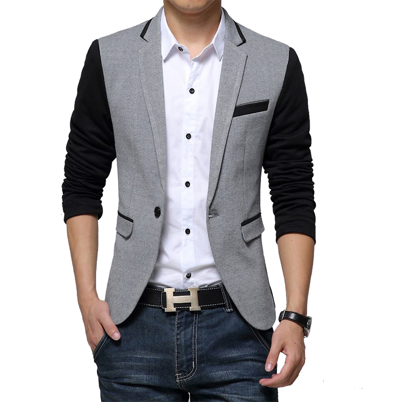 New Slim Fit Casual jacket Cotton Men Blazer Jacket Single Button Gray Mens Suit Jacket 2018 Autumn Patchwork Coat Male Suite(China)