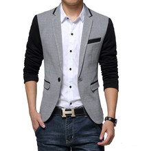 New Slim Fit Casual jacket Cotton Men Blazer Jacket Single Button Gray Mens Suit