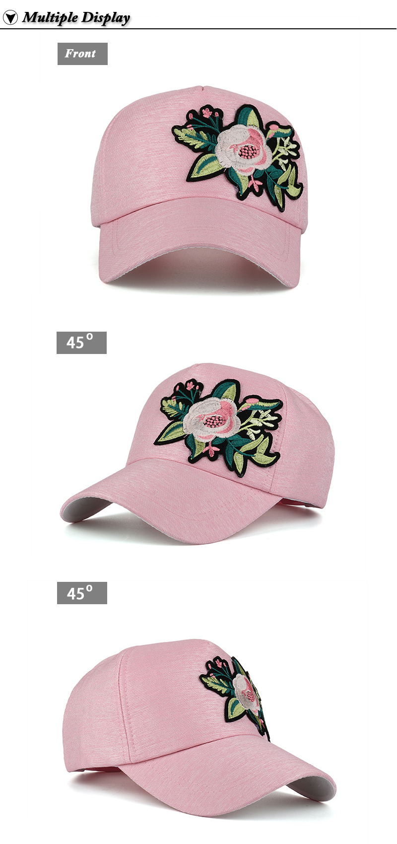 Embroidered Flower Snapback Cap - Front and Front Angle Views