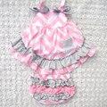 4 del Color del remiendo bebés que arropan el estilo de verano dulce princesa sin mangas de los bebés oscilar set Top 0-2 años