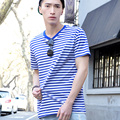 striped short sleeve T-shirt male half sleeve stripe loose cotton round JunFeng shirt sweethearts outfit of the territorial sea