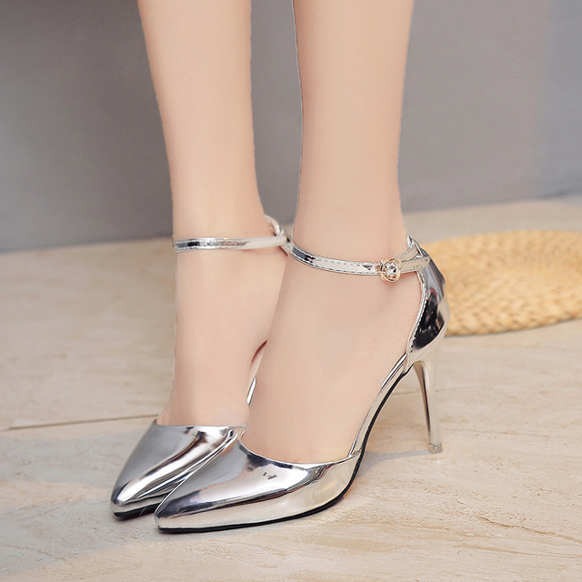 OL Office Lady Shoes Women High heels Dress Shoes Silver Woman Wedding Shoes Pointed Toe Ankle Buckle Sexy Pumps Gold Shoes 2963