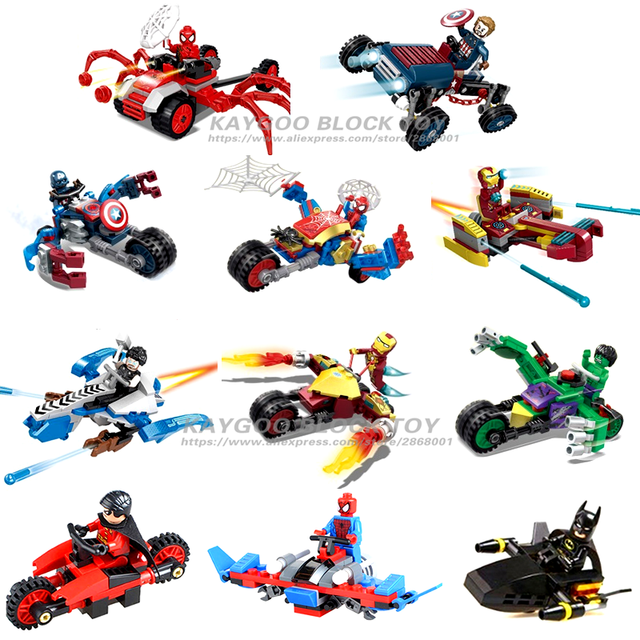 12 pcs Super-heróis Da Marvel Avengers spiderman car truck Veículo militar compatível legoesd Figuras Bricks Building Blocks Brinquedos
