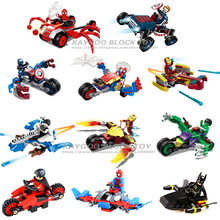 12pcs Marvel SuperHeroes Avengers spiderman car truck Vehicle military compatible legoesd Figures Building Bricks Blocks Toys(China)