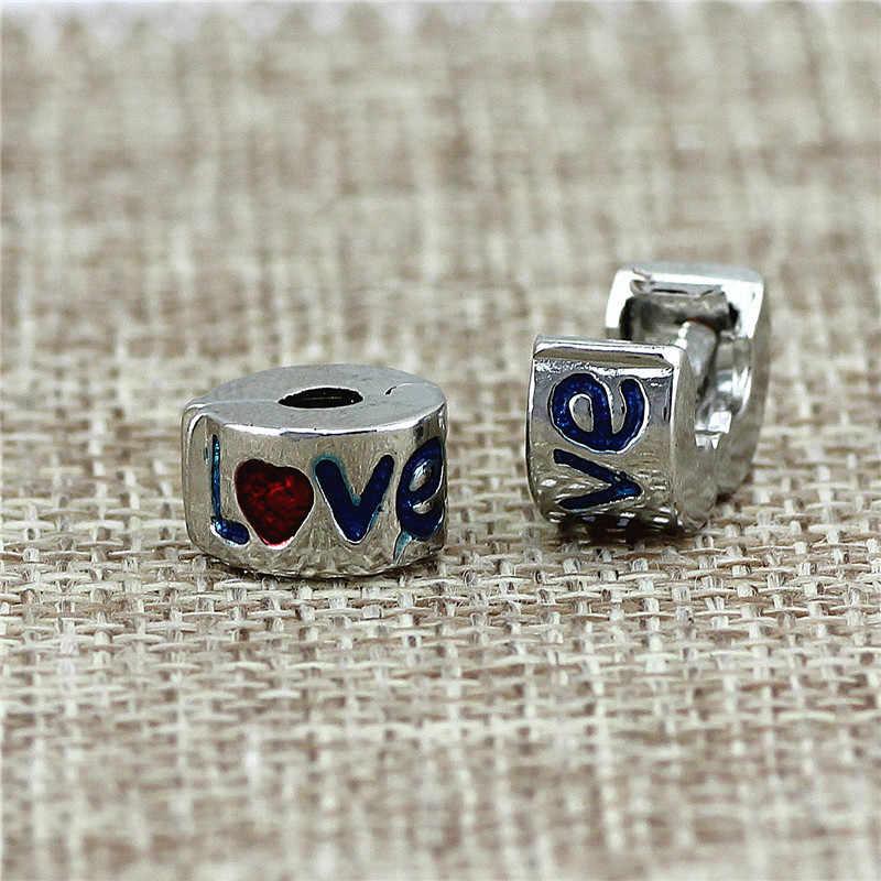 Stoper bezpieczeństwa pave aluminiowe koraliki nadające się do stylu Pandora bransoletki do tworzenia biżuterii fit Charms bransoletki dla kobiet