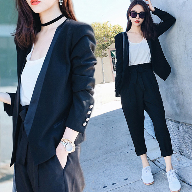2018 spring Korean new women OL temperament small suit jacket three-piece spring fashion wild small suit wind
