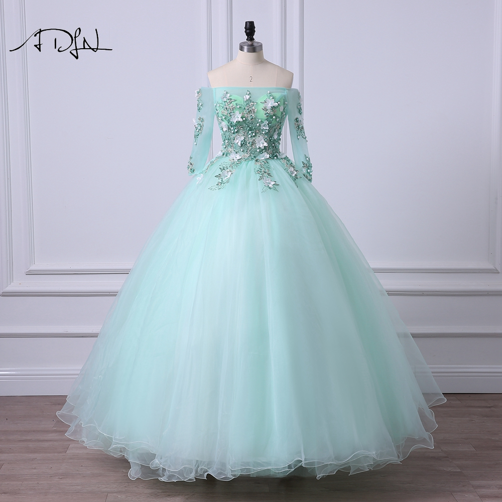 Online Shop ADLN Mint Green Quinceanera Dresses with sleeves Floral ...