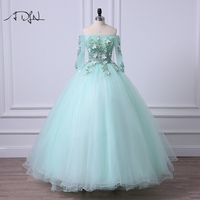 ADLN Mint Green Quinceanera Dresses Off The Shoulder Fairy Debutante Gown 2017 Short Sleeve Ball Gown