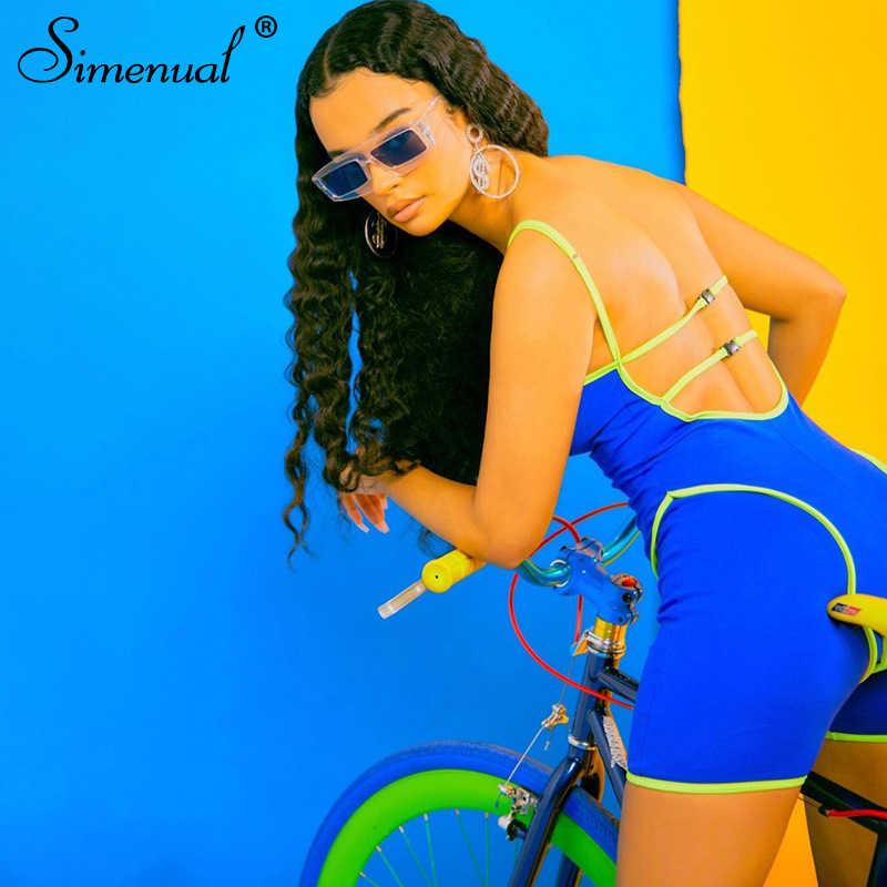 Simenual 캐주얼 스포티 한 활성 착용 Backless Playsuit 섹시한 푸시 업 스트랩 Rompers 여성 Jumpsuit 운동 휘트니스 바이커 Playsuits