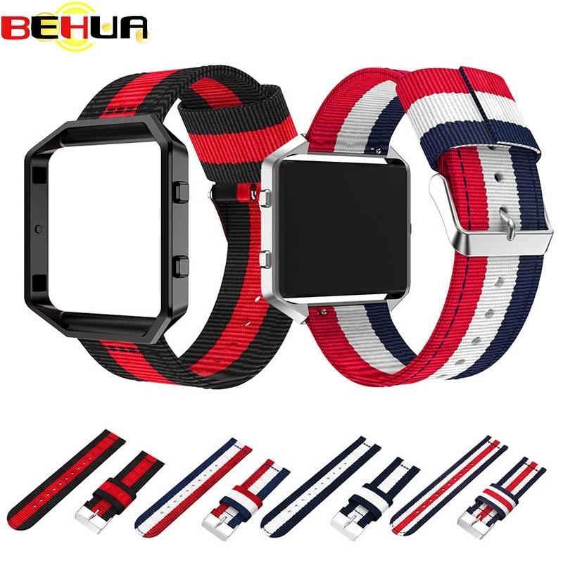 Esportes Tecido de Nylon 23mm Watch Band + Frame Colorido do Metal 2 em 1 Caixa do relógio e Banda wrist band para Fitbit Pulseira relógio relógio Pulseira de Incêndio
