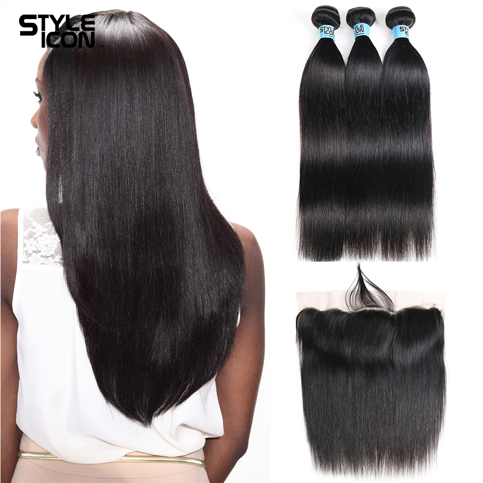 Styleicon Pre-Colored Peruvian Straight Hair Weave 2 3 4 Bundles With Frontal Closure No ...