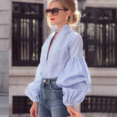 Fashion Ladies Casual Tops Shirt Lantern Sleeve Women Spring Autumn Loose Top Long Sleeve Blouse V Neck Fashion