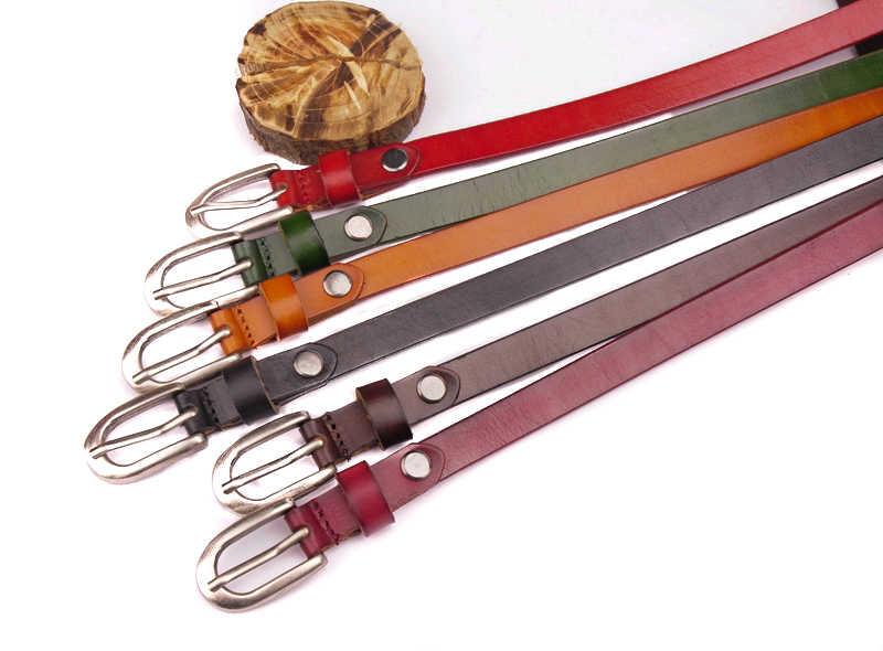 BE14 Lote 6 piezas nuevas mujeres de cuero genuino fino Cinturón de piel de vaca cintura hebilla Pin
