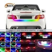OKEEN 120 cm RGB LED tronc bande de lumière pour voiture jaune tournant signal lumineux bar bande 5050 LED avec 5 fonctions de freinage lampes